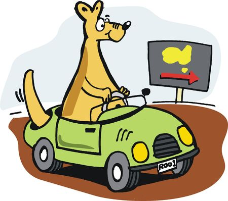 outback: Vector cartoon of kangaroo tourist driving car in outback