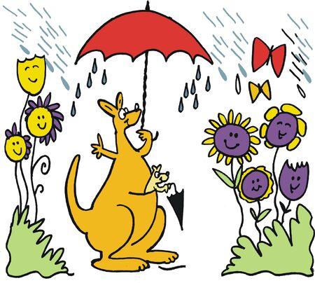 cartoon umbrella: Vector cartoon of happy kangaroo with umbrella in rain