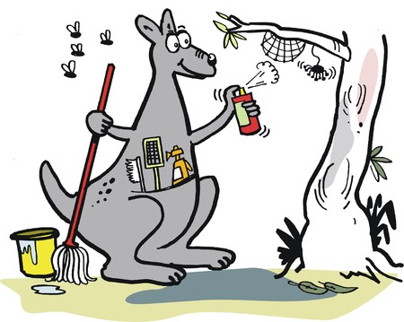 household chores: Vector cartoon of kangaroo doing household chores in outback