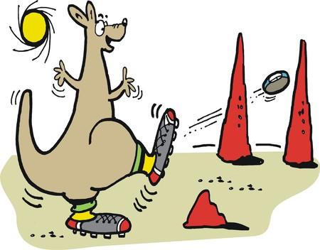 outback australia: Vector cartoon of kangaroo kicking football in outback