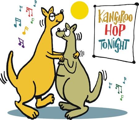 contented: Vector cartoon of two kangaroos dancing together