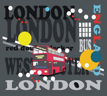 london night: Vector illustration of London signs with red bus