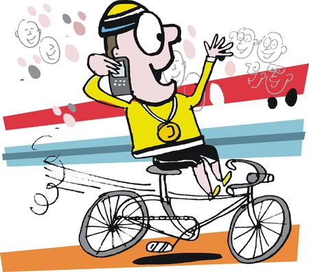 triumphant: Vector cartoon of cyclist winning race