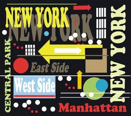 central park: Vector illustration of New York signs and arrows