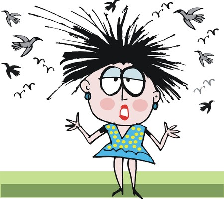 bad hair: Vector cartoon of woman having bad hair day