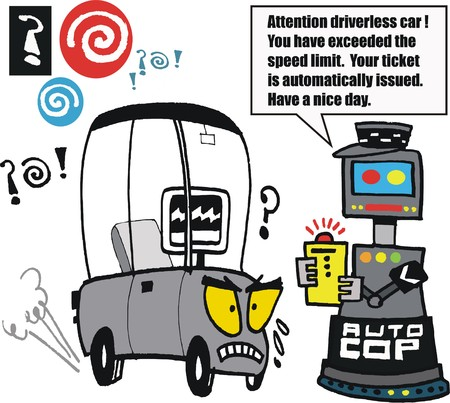 highway patrol: cartoon of robotic car being booked for speeding by traffic cop