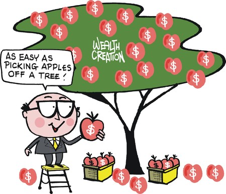 cartoon of business man picking apples from money tree