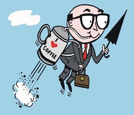 flying man: cartoon of high flying business man with rocket Illustration