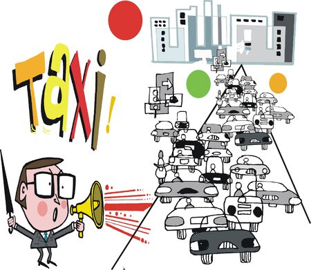 busy person: Cartoon of business man using megaphone to hail taxi