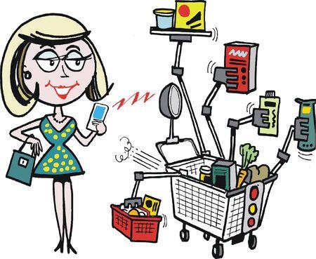 computerised: Robot computerised supermarket trolley cartoon Illustration