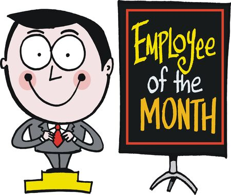 achiever: cartoon of happy man with employee service award
