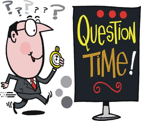 cartoon of running business man wih question time notice