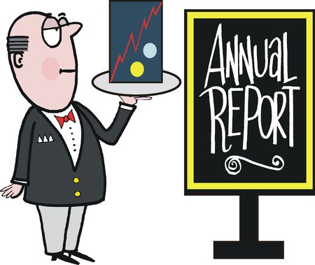 butler: cartoon of well dressed butler with annual report on tray