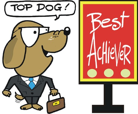 achiever: cartoon of dog executive with best achiever sign