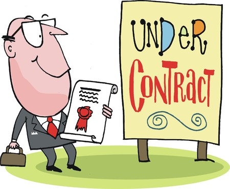 real estate agent: cartoon of real estate agent with signed contract