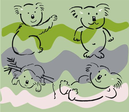aussie: cartoon of koala bears against wavy striped background