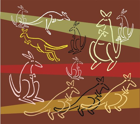 red kangaroo: drawing of kangaroos against striped background