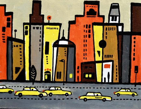 busy city: Illustration of yellow taxis against a city background