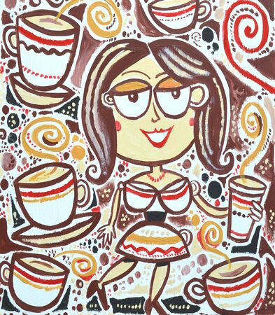 lady in red: Cartoon drawing of happy woman with coffee cups