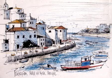 lijntekening: Illustratie van de oude huizen en vissershaven in Ferragudo, Portugal.