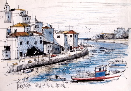 port: Illustration of old houses and fishing port at Ferragudo, Portugal.