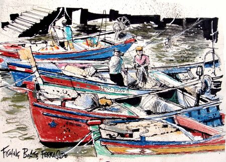 wharf: Sketch of fishing boats, Portugal. Stock Photo