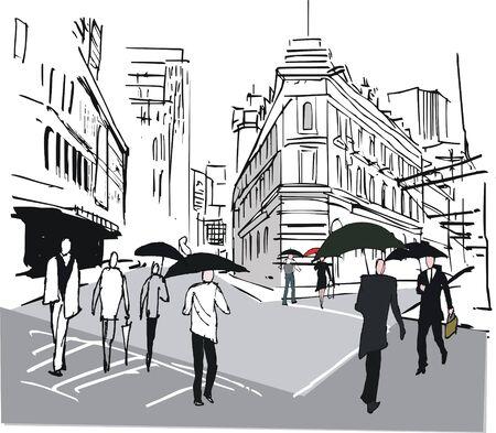 illustration of pedestrians with umbrellas in Wellington New Zealand