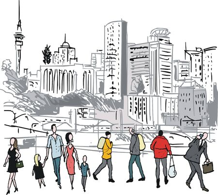 ilustration of pedestrians with Auckland city background