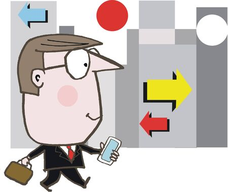 cartoon of happy business man with mobile phone in city