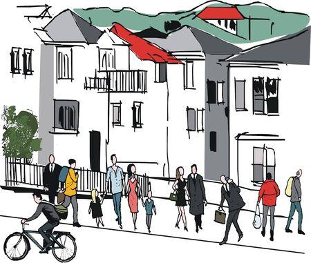 illustration of pedestrians in suburban Thorndon, Wellington New Zealand