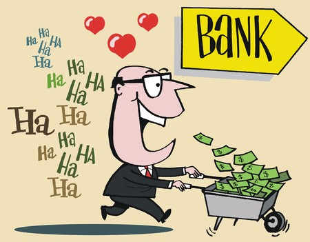 cartoon of man with barrow of money laughing all the way to the bank. Illustration