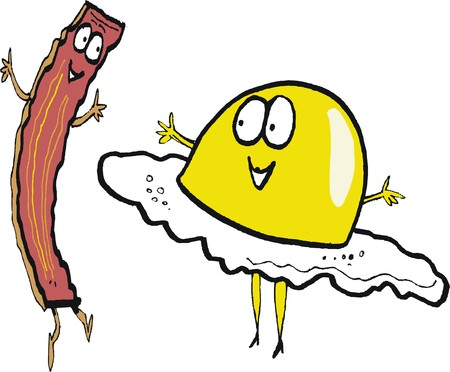 thrilled: Cartoon of happy  bacon rasher and fried egg dancing.