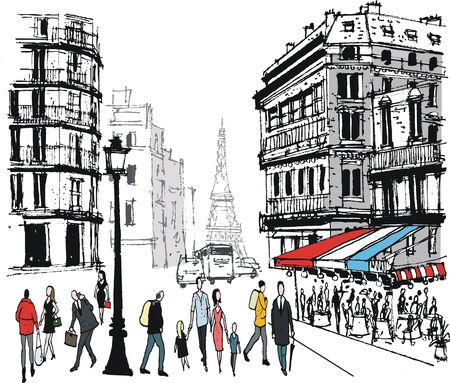 Old Paris buildings illustration, with pedestrians and restaurant. Illustration