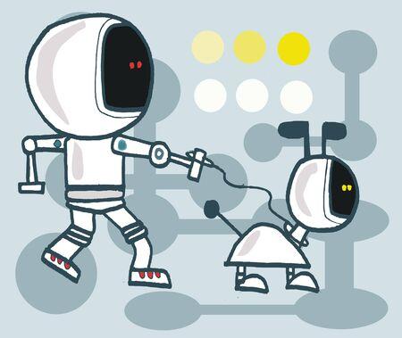 cartoon of robot man taking robot dog for a walk Illustration