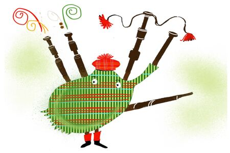 Cartoon of funny bagpipes wearing Scottish hat.