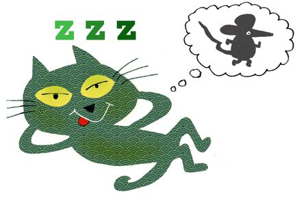 Cartoon drawing of smiling cat dreaming of mouse Stock Photo