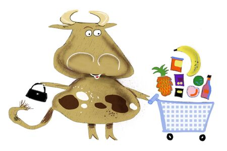 Cartoon cow drawing with supermarket trolley full of groceries