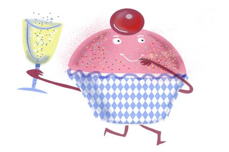 glass cup: Cartoon drawing of cute cup cake with glass of wine