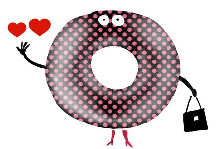 Cartoon of large sugary donut woman with purse