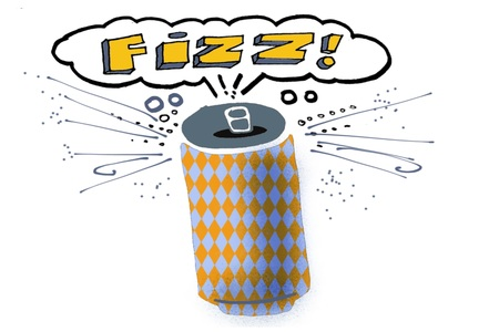 Cartoon of soda pop can with fizz lettering