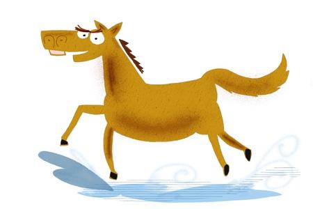 Cartoon of fierce horse galloping through water
