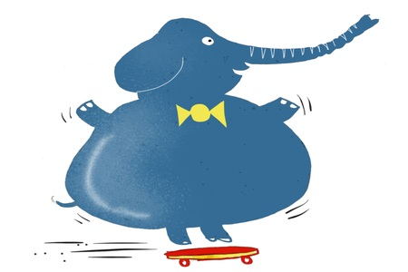 Cartoon of elephant balancing on skate board