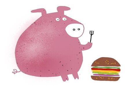 Cartoon of hungry pig with fork, looking at hamburger