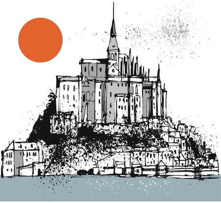 normandy: Vector illustration of mont saint michel, Normandy France