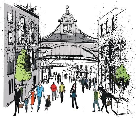 Vector illustration of pedestrians, Windsor Railway station, England Illustration