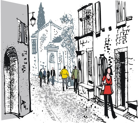 Vector illustration of old village street scene with pedestrians, France