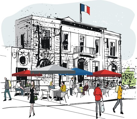 red umbrella: Vector illustration of old French building with outdoors restaurant and diners