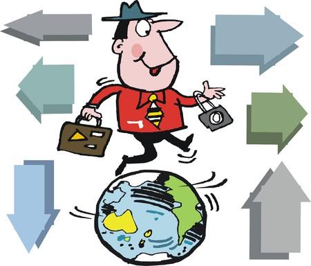 Vector cartoon of happy man globe trotting around the world
