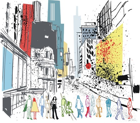 Vector illustration of pedestrians crossing road, Manhattan, New York. Иллюстрация