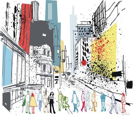 busy street: Vector illustration of pedestrians crossing road, Manhattan, New York. Illustration